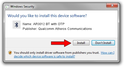 Qualcomm Atheros Communications AR3012 BT with OTP driver installation 39047