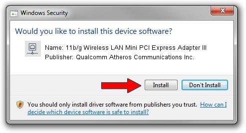 Qualcomm Atheros Communications Inc. 11b/g Wireless LAN Mini PCI Express Adapter III driver installation 1323669