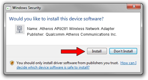 Qualcomm Atheros Communications Inc. Atheros AR9281 Wireless Network Adapter driver installation 30729