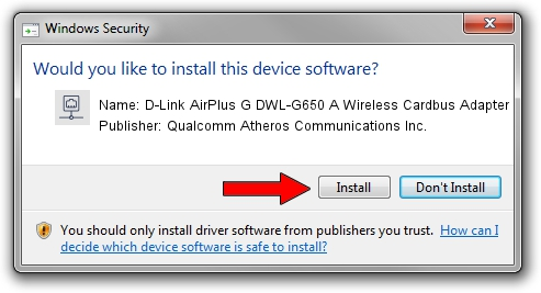Qualcomm Atheros Communications Inc. D-Link AirPlus G DWL-G650 A Wireless Cardbus Adapter setup file 326369