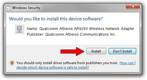Qualcomm Atheros Communications Inc. Qualcomm Atheros AR928X Wireless Network Adapter setup file 248589