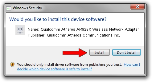 Qualcomm Atheros Communications Inc. Qualcomm Atheros AR928X Wireless Network Adapter driver installation 62078