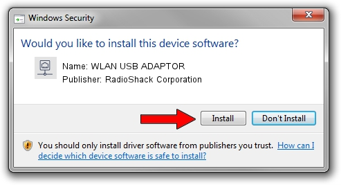RadioShack Corporation WLAN USB ADAPTOR setup file 1422780