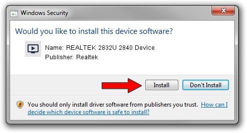 Realtek REALTEK 2832U 2840 Device driver installation 1423140