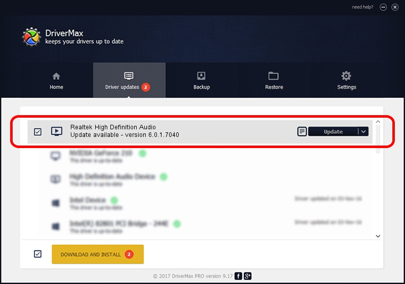 Realtek Realtek High Definition Audio driver update 57040 using DriverMax