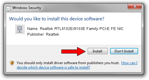 Realtek Realtek RTL8102E/8103E Family PCI-E FE NIC driver download 1388286