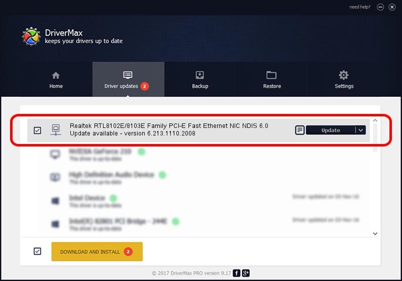 Realtek Realtek RTL8102E/8103E Family PCI-E Fast Ethernet NIC NDIS 6.0 driver installation 1780233 using DriverMax