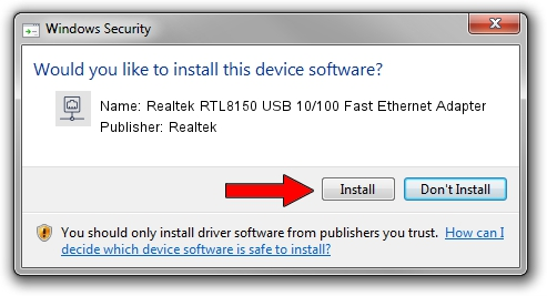 Realtek Realtek RTL8150 USB 10/100 Fast Ethernet Adapter driver download 1407993
