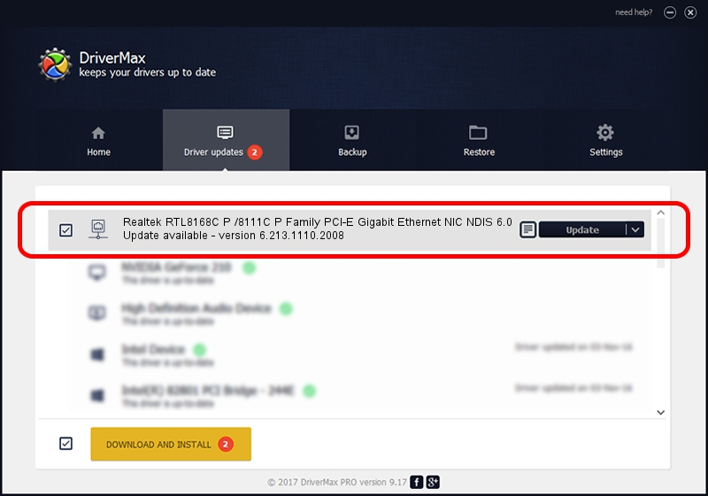 Realtek Realtek RTL8168C P /8111C P Family PCI-E Gigabit Ethernet NIC NDIS 6.0 driver update 1386642 using DriverMax