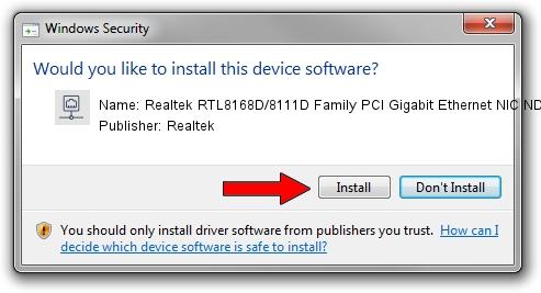 Realtek Realtek RTL8168D/8111D Family PCI Gigabit Ethernet NIC NDIS 6.0 driver installation 1323359