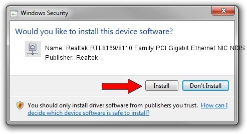 Realtek Realtek RTL8169/8110 Family PCI Gigabit Ethernet NIC NDIS 6.0 driver installation 1003582
