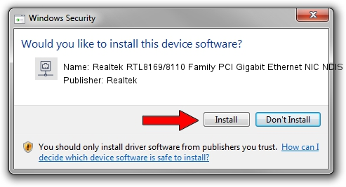 Realtek Realtek RTL8169/8110 Family PCI Gigabit Ethernet NIC NDIS 6.0 driver installation 1424753