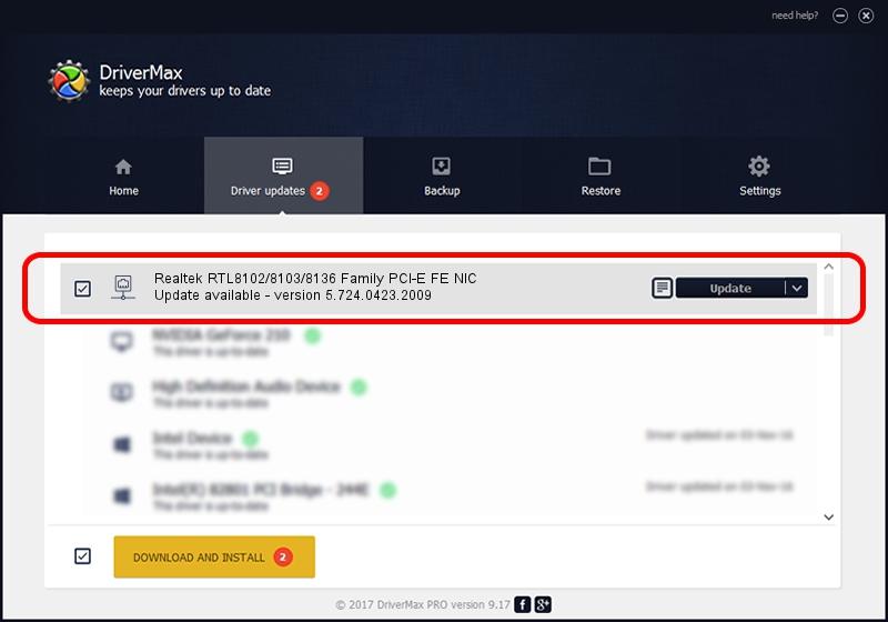 Realtek Semiconductor Corp. Realtek RTL8102/8103/8136 Family PCI-E FE NIC driver update 1570891 using DriverMax
