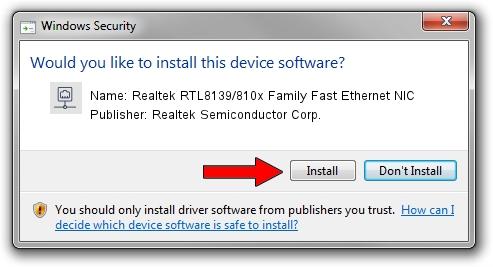 Realtek Semiconductor Corp. Realtek RTL8139/810x Family Fast Ethernet NIC setup file 1381557