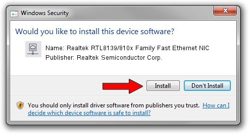 Realtek Semiconductor Corp. Realtek RTL8139/810x Family Fast Ethernet NIC driver installation 2013401