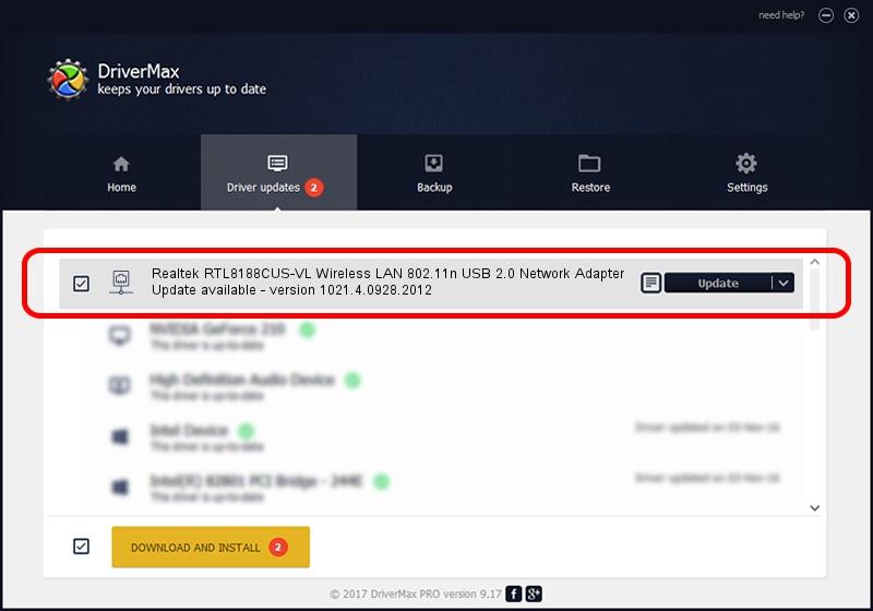 Realtek Semiconductor Corp. Realtek RTL8188CUS-VL Wireless LAN 802.11n USB 2.0 Network Adapter driver update 1104629 using DriverMax