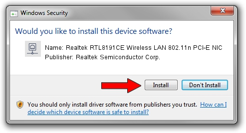 Realtek Semiconductor Corp. Realtek RTL8191CE Wireless LAN 802.11n PCI-E NIC driver installation 1637211