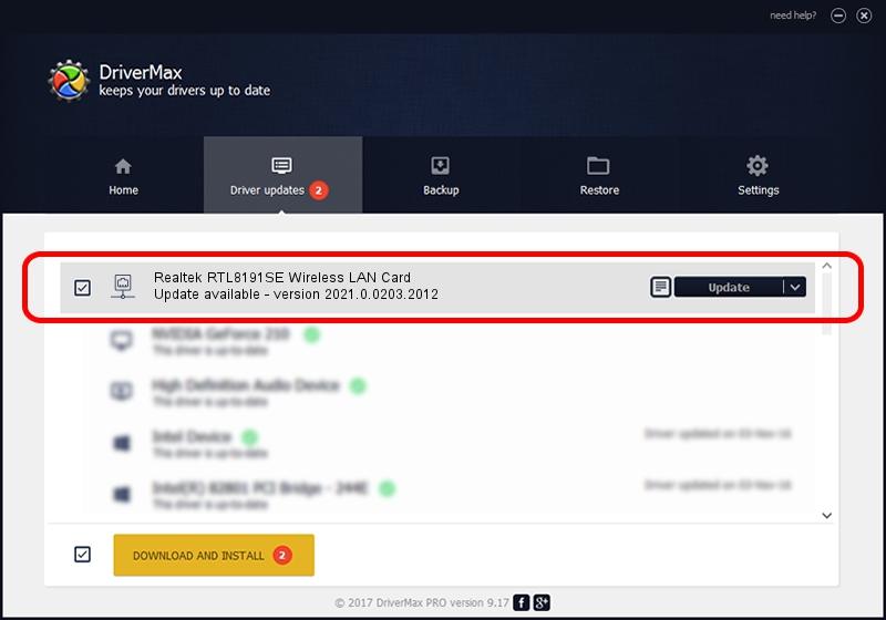 Realtek Semiconductor Corp. Realtek RTL8191SE Wireless LAN Card driver update 2093818 using DriverMax