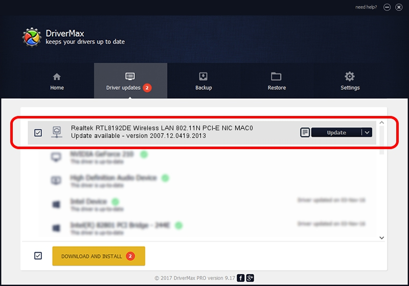Realtek Semiconductor Corp. Realtek RTL8192DE Wireless LAN 802.11N PCI-E NIC MAC0 driver update 1780472 using DriverMax