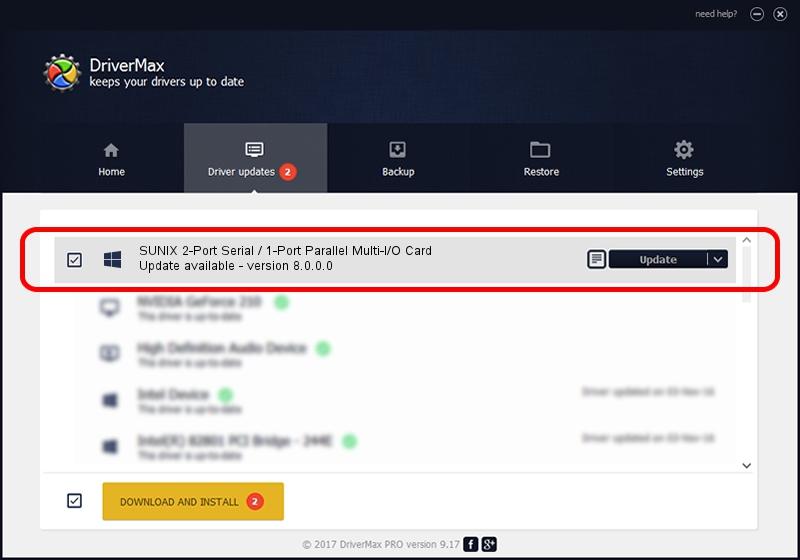 SUNIX Co., Ltd. SUNIX 2-Port Serial / 1-Port Parallel Multi-I/O Card driver update 1569278 using DriverMax