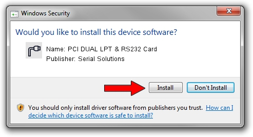 Serial Solutions PCI DUAL LPT & RS232 Card driver installation 2098058