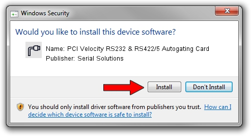 Serial Solutions PCI Velocity RS232 & RS422/5 Autogating Card driver installation 1404725
