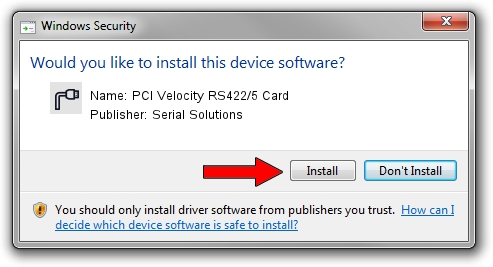Serial Solutions PCI Velocity RS422/5 Card driver installation 1430953