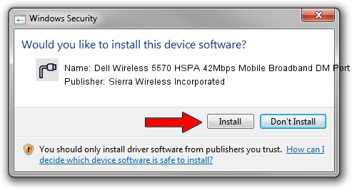 Sierra Wireless Incorporated Dell Wireless 5570 HSPA 42Mbps Mobile Broadband DM Port driver installation 125833