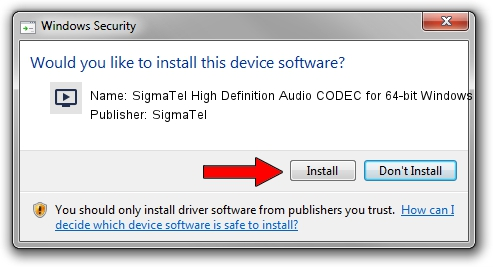 SigmaTel SigmaTel High Definition Audio CODEC for 64-bit Windows setup file 1438063