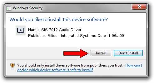 Silicon Integrated Systems Corp. 1.06a.00 SiS 7012 Audio Driver setup file 1431781