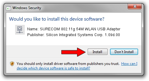 Silicon Integrated Systems Corp. 1.09d.00 SURECOM 802.11g 54M WLAN USB Adapter driver download 1507905