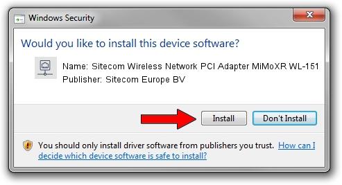 Sitecom Europe BV Sitecom Wireless Network PCI Adapter MiMoXR WL-151 driver installation 50780