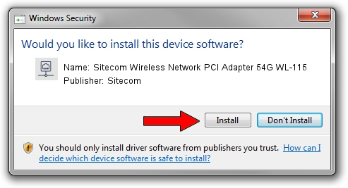 Sitecom Sitecom Wireless Network PCI Adapter 54G WL-115 driver installation 1212053