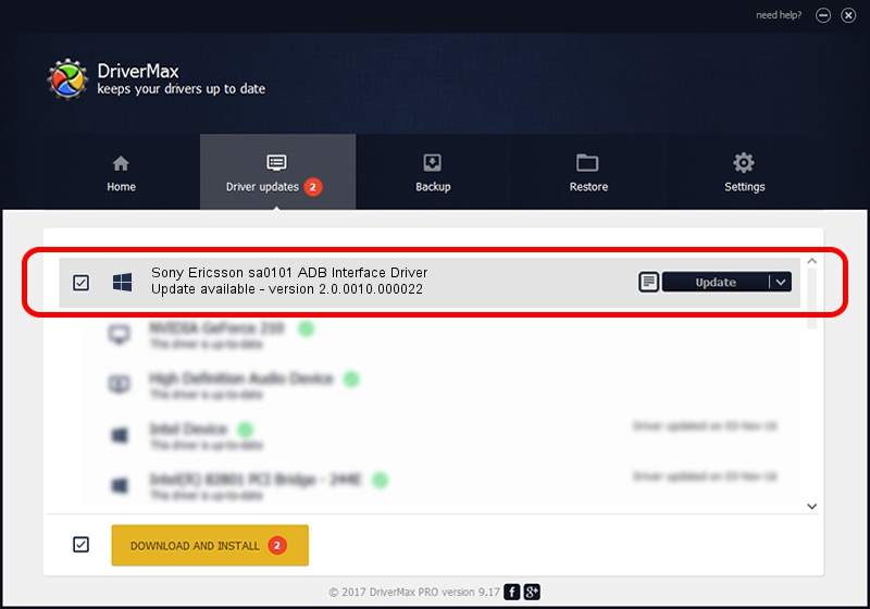 Sony Ericsson Sony Ericsson sa0101 ADB Interface Driver driver update 2013197 using DriverMax