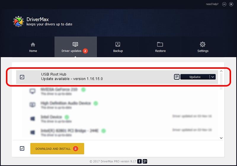 Standard USB Host Controller USB Root Hub driver update 2096204 using DriverMax