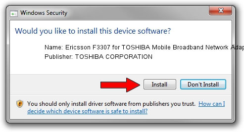 TOSHIBA CORPORATION Ericsson F3307 for TOSHIBA Mobile Broadband Network Adapter setup file 1409637