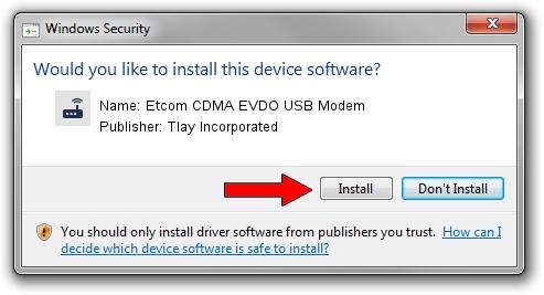 Tlay Incorporated Etcom CDMA EVDO USB Modem driver installation 1401090