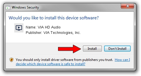 VIA Technologies, Inc. VIA HD Audio driver installation 25185
