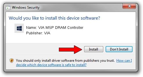 VIA VIA MSP DRAM Controller driver installation 2015010