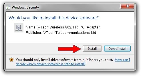 VTech Telecommunications Ltd VTech Wireless 802.11g PCI Adapter driver download 68776