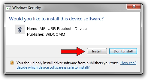 WIDCOMM MSI USB Bluetooth Device driver download 1397582