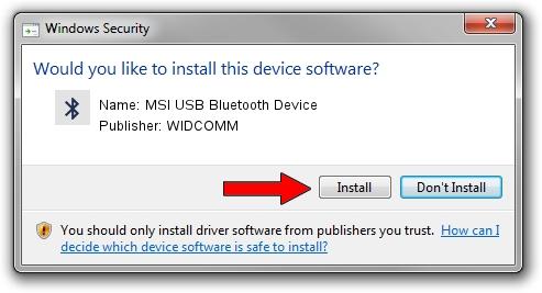 WIDCOMM MSI USB Bluetooth Device driver installation 1571170