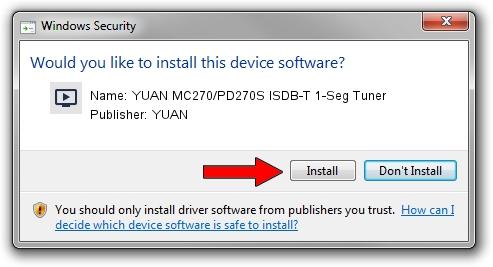 YUAN YUAN MC270/PD270S ISDB-T 1-Seg Tuner driver installation 1420550