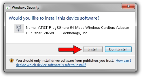 ZINWELL Technology, Inc. AT&T Plug&Share 54 Mbps Wireless Cardbus Adapter setup file 1385870