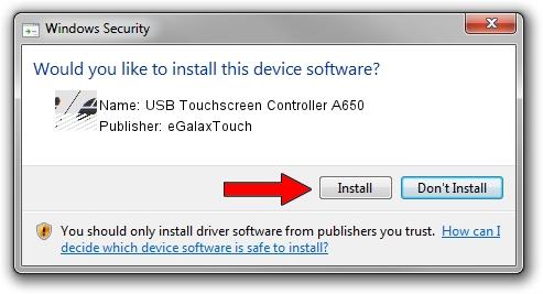 eGalaxTouch USB Touchscreen Controller A650 driver installation 1711716