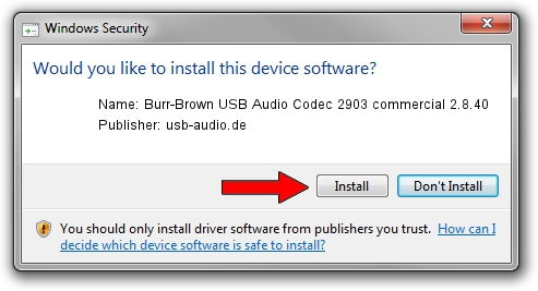 usb-audio.de Burr-Brown USB Audio Codec 2903 commercial 2.8.40 driver installation 1387788